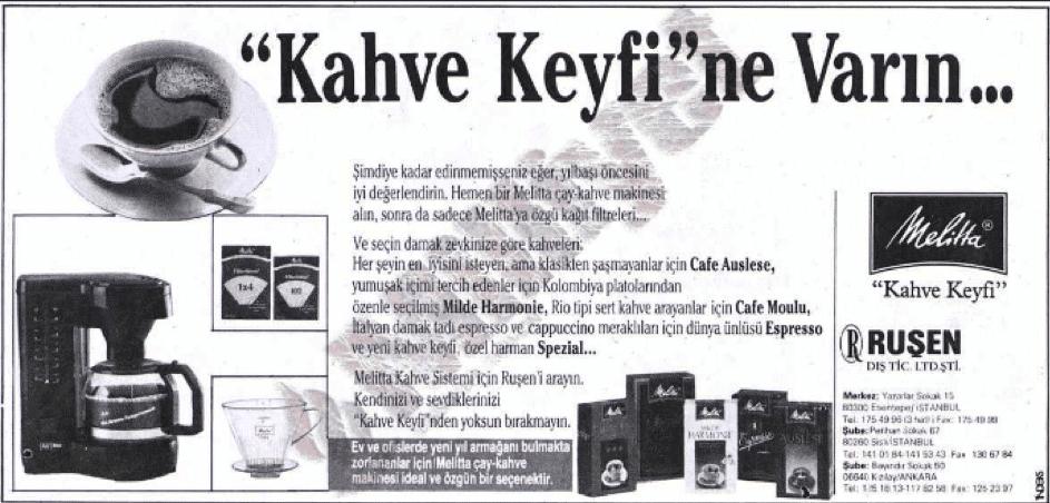 Türkiye'de filtre kahve - 1989